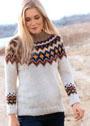 Пуловер с круглой жаккардовой кокеткой в норвежском стиле. Спицы