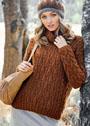Коричневый шерстяной пуловер с косами. Спицы