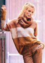Пуловер с широкими полосами, дополненный снудом. Спицы