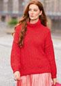 Красный теплый пуловер с косами и полупатентным узором. Спицы