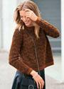 Шерстяной пуловер с узором в технике бриошь. Спицы