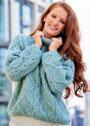 Теплый голубой пуловер с ромбами и косами. Спицы