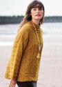 Пуловер с рельефным узором и поперечной резинкой. Спицы