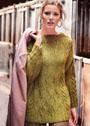 Просторный пуловер кимоно с косами. Спицы