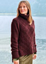 Коричневый пуловер с шахматным и полупатентным узорами. Спицы