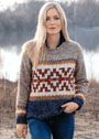 Пуловер с ковровым жаккардовым узором. Спицы