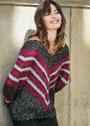 Пуловер с V-образными цветными полосами. Спицы