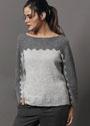 Цельновязаный пуловер с зубчатым узором. Спицы