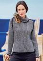 Черно-белый пуловер с мелким узором Гусиная лапка. Спицы