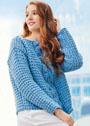 Пуловер со структурным узором и центральной косой. Спицы