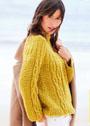Желтый пуловер с круглой кокеткой и миксом узоров. Спицы