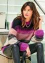Мохеровый пуловер в разноцветную полоску. Спицы