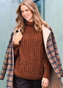 Теплый свободный пуловер из резинки с косами. Спицы
