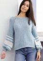Голубой пуловер с белыми полосами на рукавах. Спицы