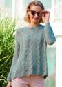 Женственный пуловер оверсайз с ажурным узором. Спицы