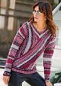Нарядный пуловер с эффектом запáха. Спицы
