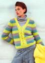 Пуловер с полосами и центральной косой. Спицы