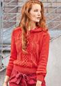 Красный пуловер с капюшоном и миксом узоров из кос. Спицы