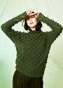Зеленый пуловер с шишечками и ажурными ромбами. Спицы