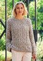 Бежевый свободный пуловер с фантазийным узором. Спицы