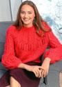 Красный пуловер с узорчатой кокеткой и пышными рукавами. Спицы