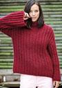 Темно-красный свободный пуловер с патентным узором. Спицы