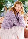 Сиреневый пуловер с шишечками и объемным воротником. Спицы