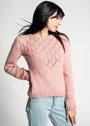 Пуловер с треугольной кокеткой из ромбов с ажурными листьями. Спицы