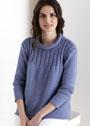 Светло-синий пуловер с кокеткой из кос. Спицы