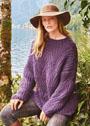 Фиолетовый пуловер крупной вязки с полупатентным узором. Спицы