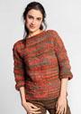 Пуловер простой вязки из фантазийной пряжи. Спицы