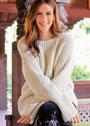 Белый пуловер с полупатентным узором и рукавами-раструбами. Спицы