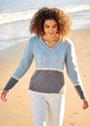 Трехцветный классический пуловер лицевой вязки. Спицы