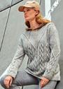 Светло-серый пуловер с ажурными ромбами. Спицы