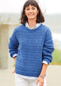 Синий пуловер с полосами разнообразных узоров. Спицы