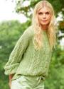 Светло-зеленый пуловер с миксом узоров. Спицы