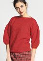 Красный пуловер с рукавами буф. Спицы