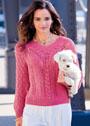 Пуловер цвета азалии с миксом узоров. Спицы