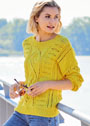 Желтый пуловер с сочетанием узоров. Спицы