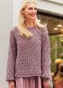 Классический пуловер с лиственным узором. Спицы