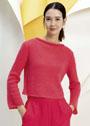 Укороченный красный пуловер с воротником руликом. Спицы