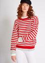 Во французском морском стиле: красно-белый пуловер в полоску. Спицы