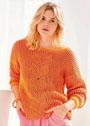 Яркий пуловер с двухцветным патентным узором. Спицы