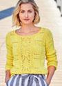 Желтый хлопковый пуловер с миксом узоров. Спицы