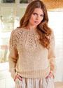 Бежевый пуловер с круглой ажурной кокеткой. Спицы