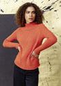 Оранжевый пуловер, связанный резинкой. Спицы