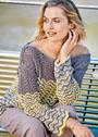 Трехцветный пуловер с волнистым узором. Спицы