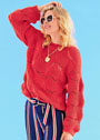 Яркий пуловер с ажурным патентным узором. Спицы
