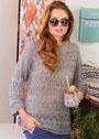 Пуловер с ажурными узорами из ромбов и кос. Спицы