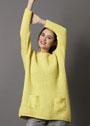 Желтый пуловер с накладными карманами. Спицы